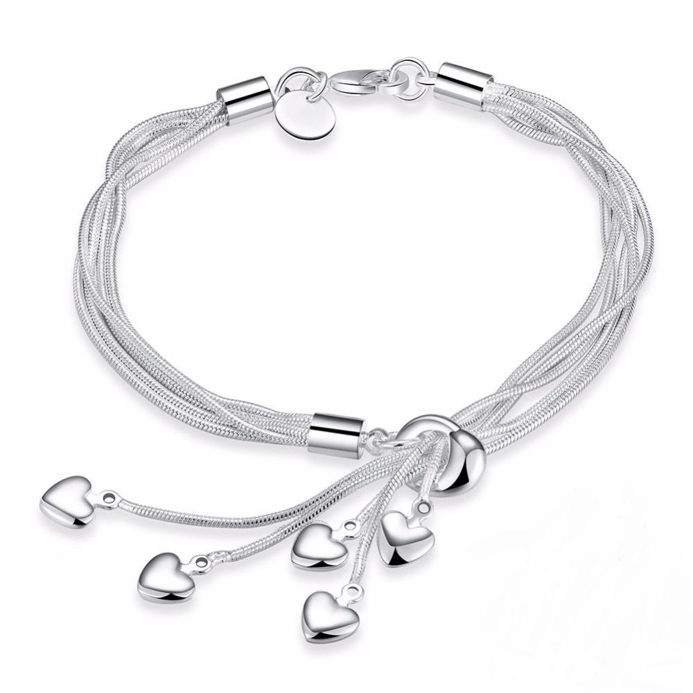 925 Sterling Silver Bracelet Hook Five Heart High Quality Fine Jewelry Accessories Silver Bracelet