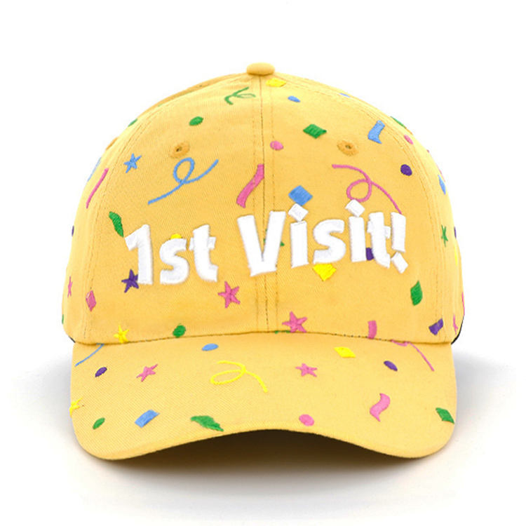 customized yellow 6 panel unstructured 3d embroidery baseball dad hat