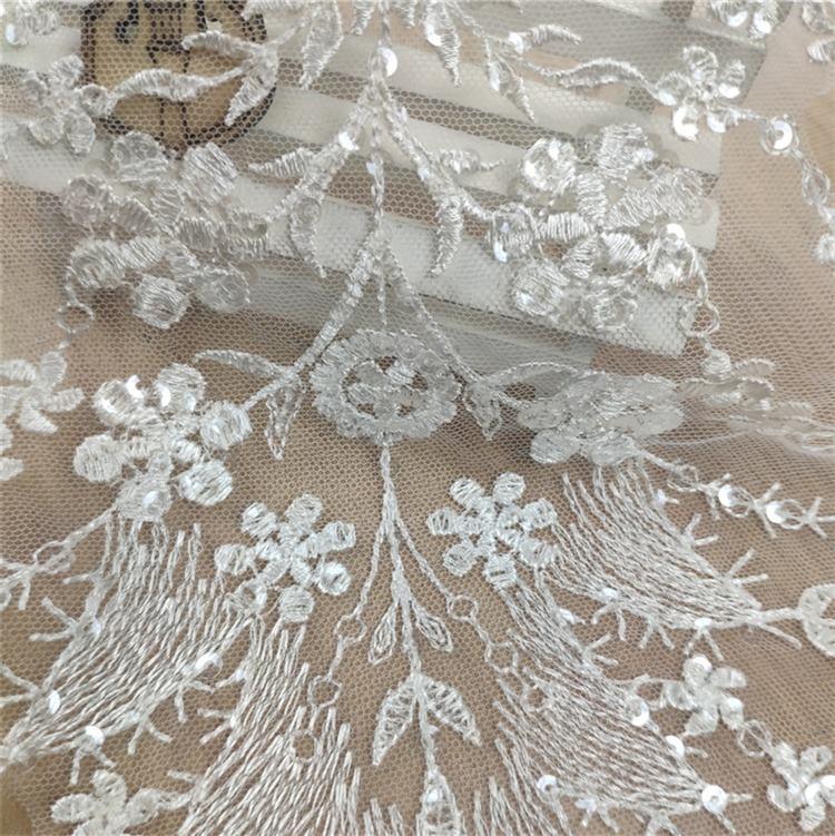 Shining Afrikaanse Populaire Pailletten Wit Borduren Kant Bloemen Applique Voor Bridal Wedding Party Dress