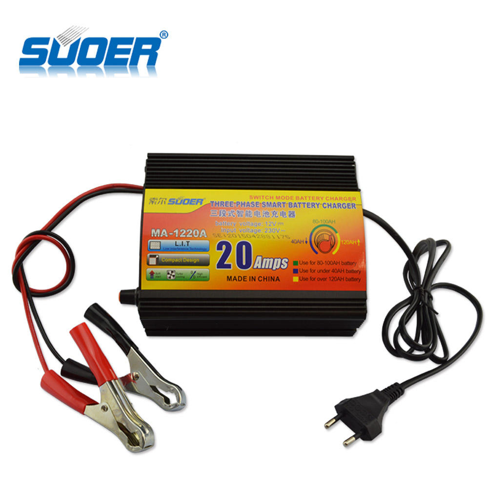 Suoer China Supply Auto Solar Car Intelligent 12V 20A Battery Charger