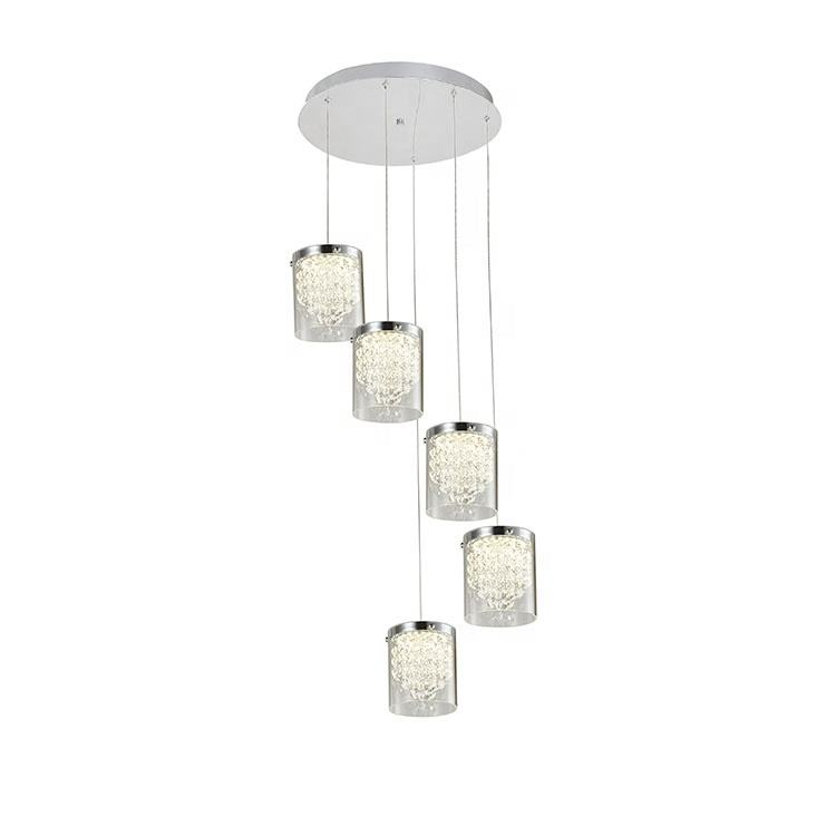 2020 Latest New Design 5-Light LED Metal Crystal Glass Indoor Hanging Lantern Pendant Lamp For Hotel