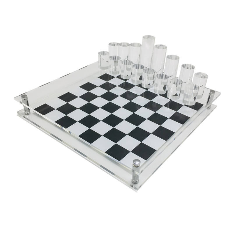 32 Cylinder Chess Game Clear Acrylic Chess Set