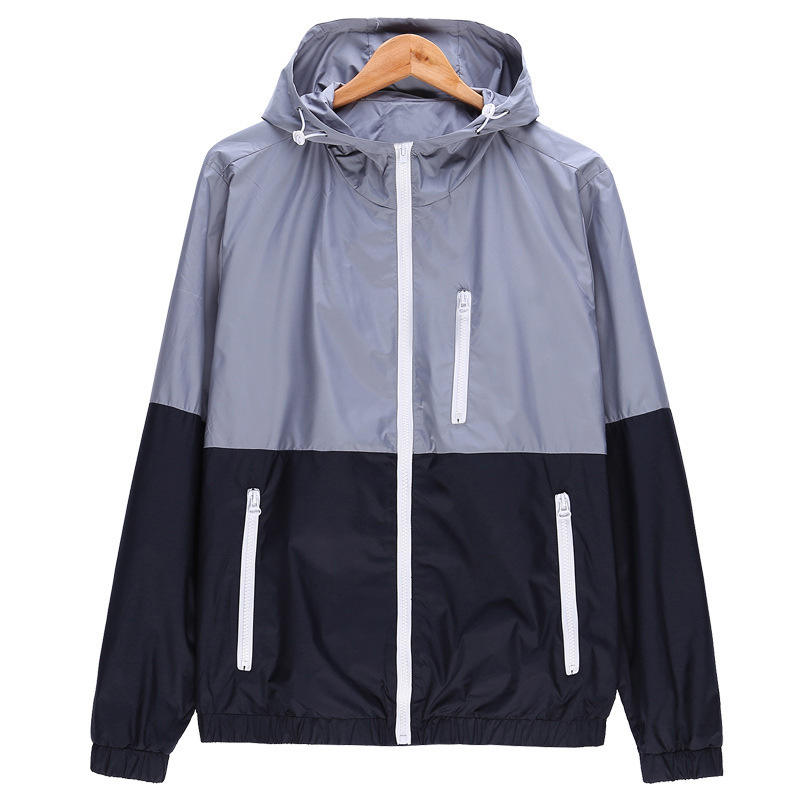 Lovers Casual Fashion Zip Up Hooded Jackets Slim Fit Sports Jacket Outdoors Windbreaker For Women And Men