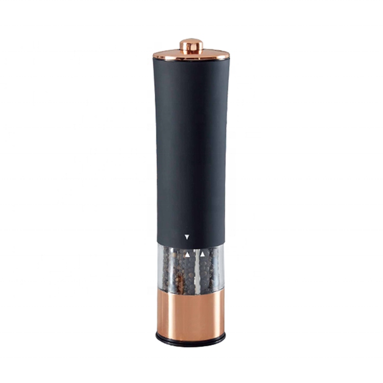 Rose gold color battery powered plastic salt and pepper mill
