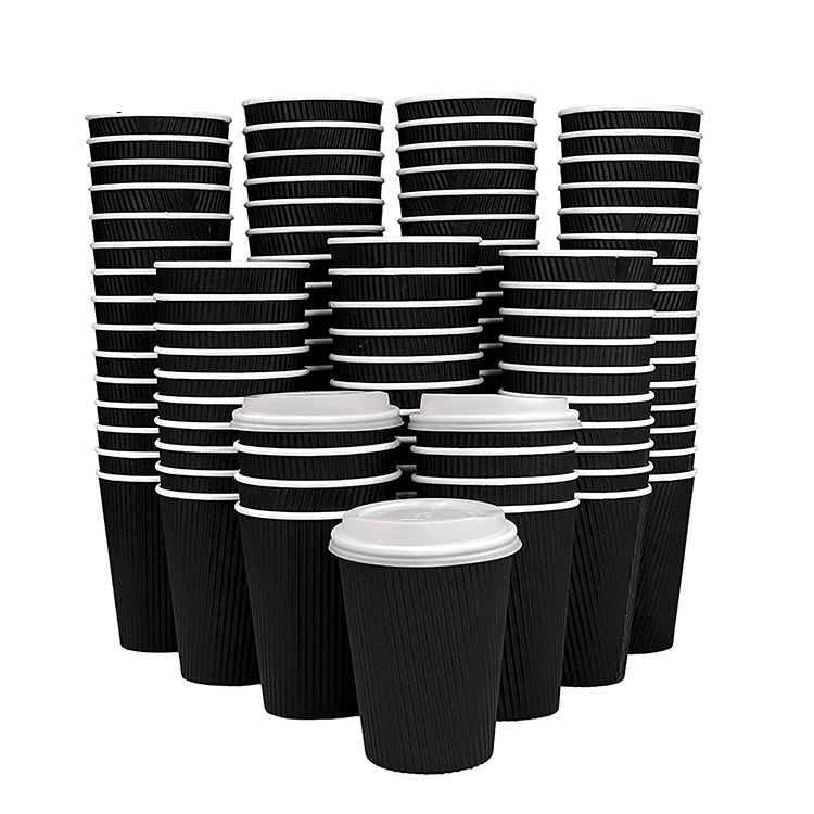 Ripple Paper Coffee Cups Disposable Insulated Hot Beverages 16 Oz Black Ripple Pla Coffee Biopbs Paper Cup