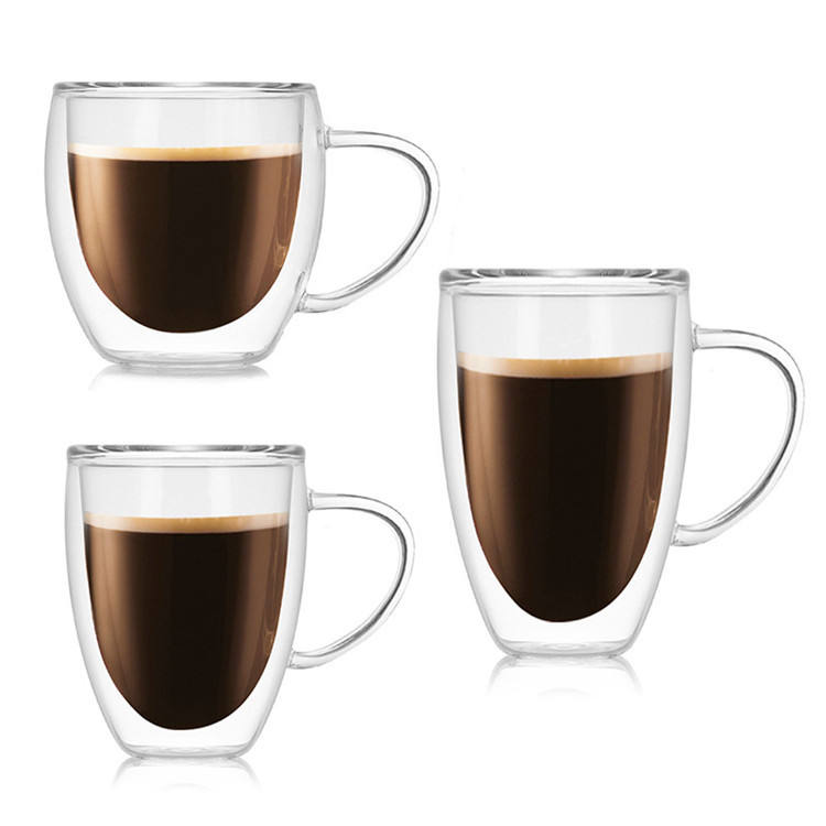Eco-friendly double wall glass tumbler custom logo tea mug coffee glass cups with lid with handle