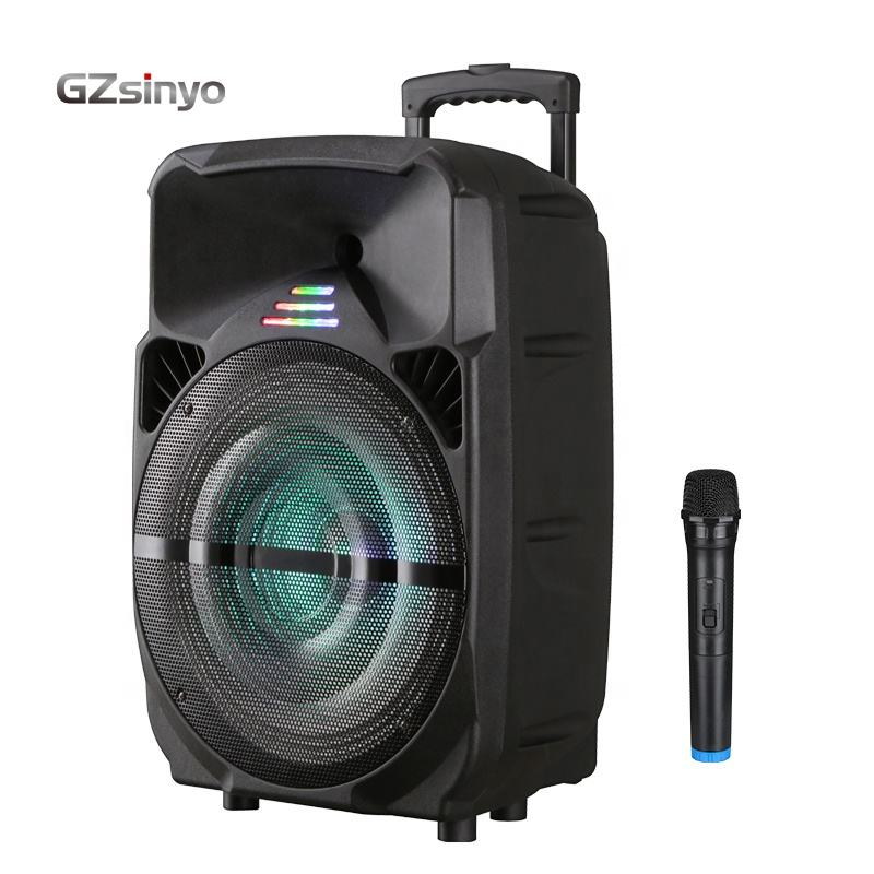 15inch Outdoor Portable speaker/Rechargeable battery karaoke trolley plastic speaker with BT USB