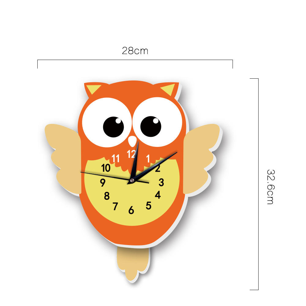 Cut Owl Shape Wall Decoration Color Wall Clock for Children room decoration