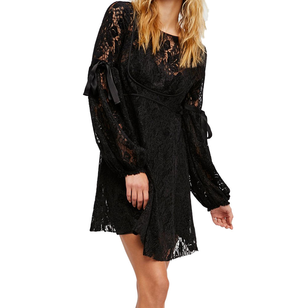 Wholesale Women Fashion Dress Short Mini Dress Lace Black Sexy