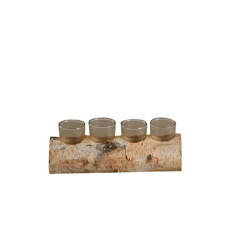 Mayco Rustic Tree Skin Tea Light Glass Holder Wooden Candle Holder