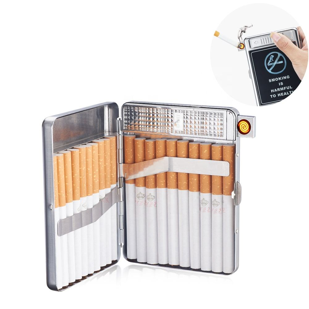 Cigarette Case with Lighter Built in USB Lighter Cigarette Box 2 in 1 Electronic Rechargeable Flameless Windproof Lighters Hold