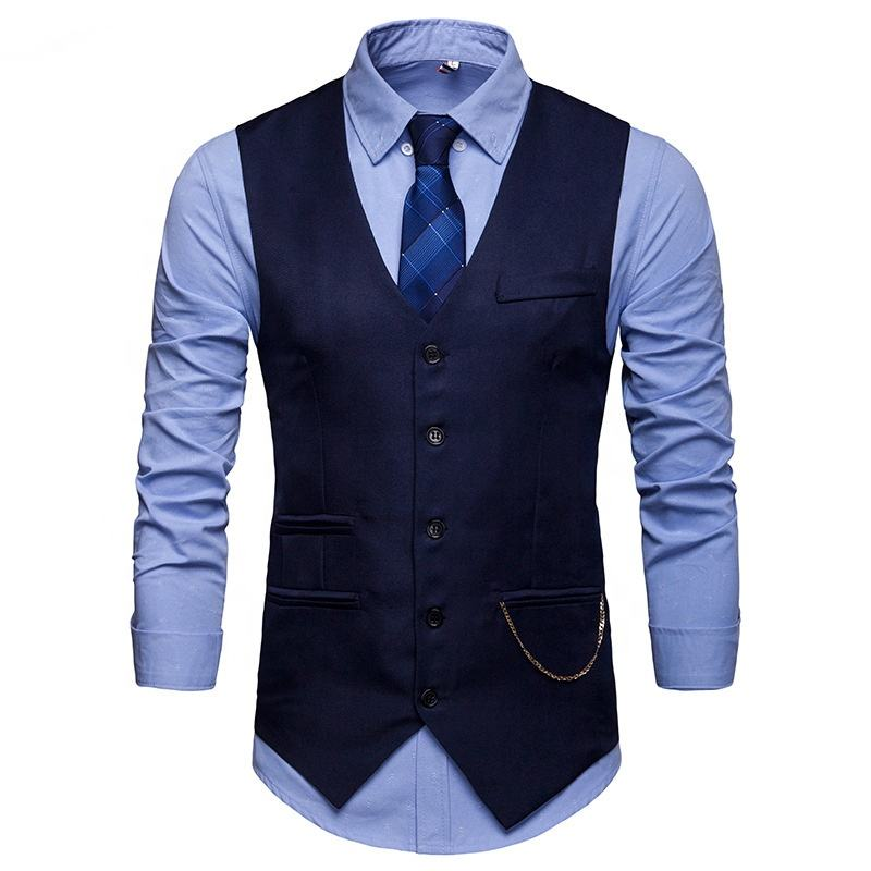 Wholesale Formal Custom Cheap Waistcoat Men Formal Suit Cotton Vest