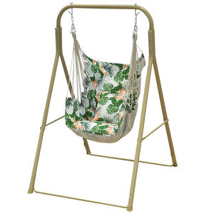 Outdoor Garden Furniture Iron Pipe Swings Hanging Printing Chair with Stand