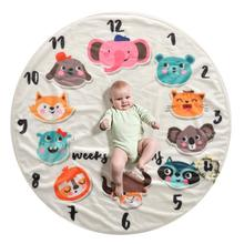 Soft Customized Girl Boy Infant Fleece Flannel Polyester Elephant Photo Baby Monthly Milestone Rounded Blanket