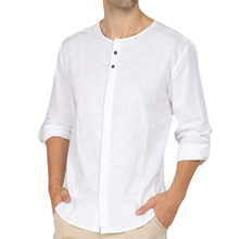 factory direct custom plaid flax slim white casual linen fabric men shirts