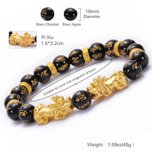 Natural Black Obsidian Stone Wealth Pixiu Feng Shui Bead Bracelet