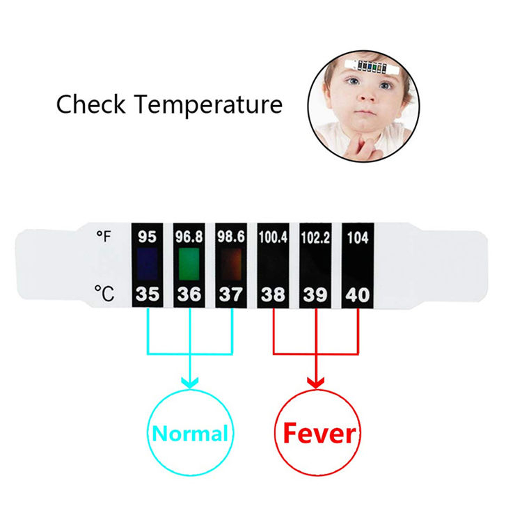 Reusable Forehead Thermometer Strip Dual Scale Thermometer Sticker Fever Monitor