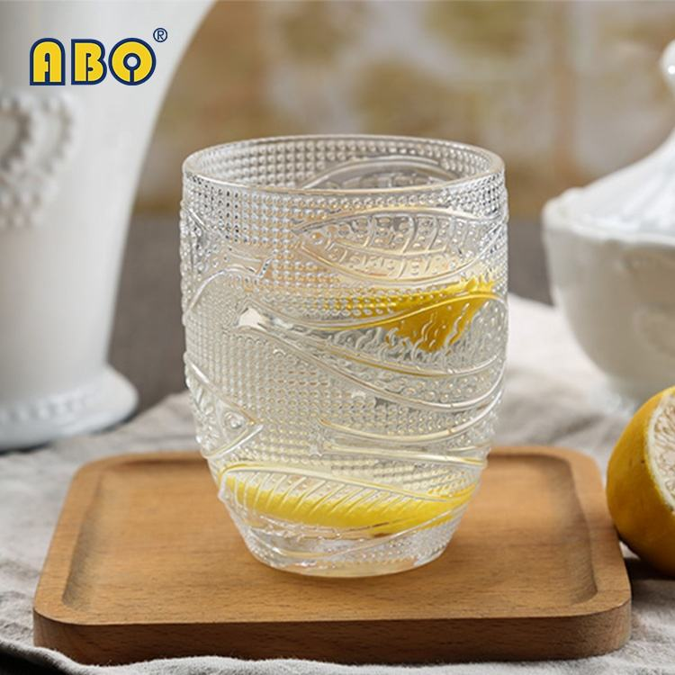 19YRS Glass-trade-focused History Anti-slip moon fish embossed transparent glass drinking juice water beer tumbler cup
