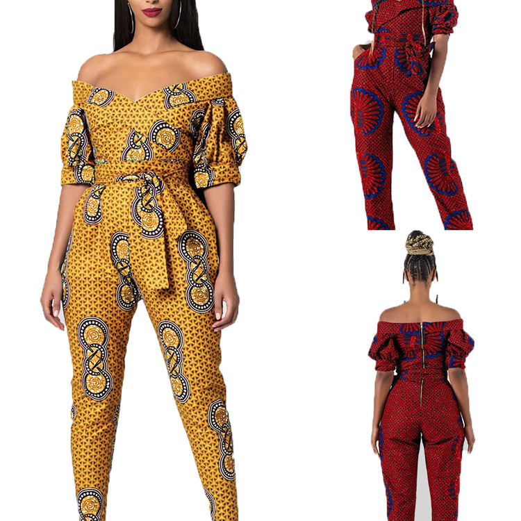 African Printed Women's Casual Off Shoulder Jumpsuits Bodycon Short Sleeve Jumpsuit Romper Trousers