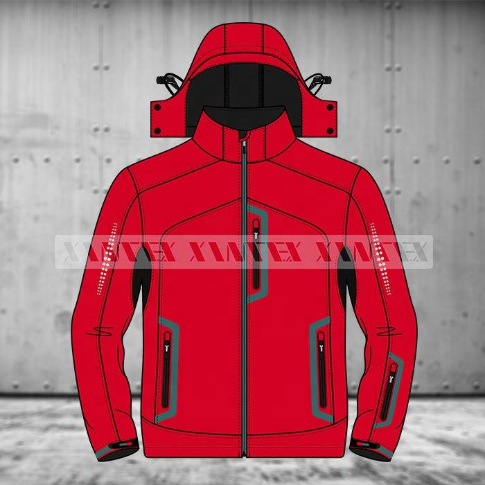 Hooded softshell jacket Customized water/wind proof jacket Sports workwear Outdoor mens Clothing