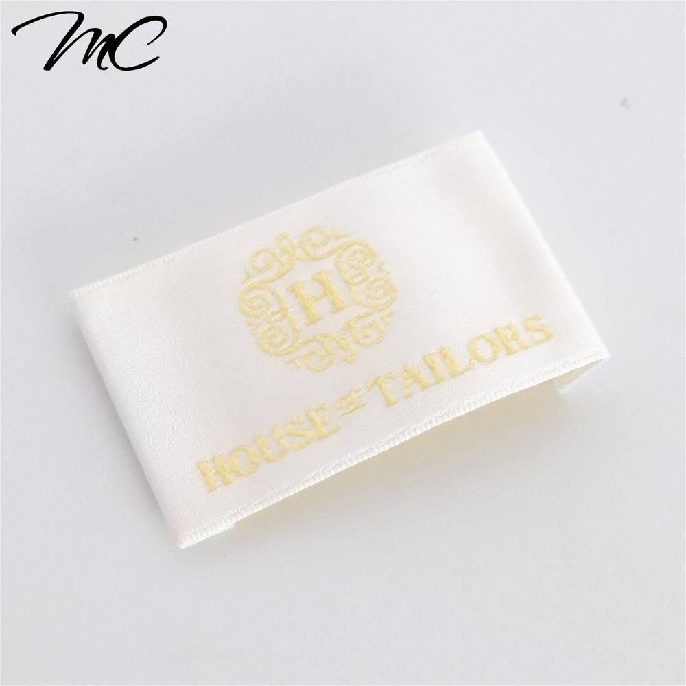 High density eco-friendly satin cotton polyester clothing neck label for bags hats cap brand apparel tags