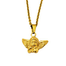 Olivia women custom christmas gifts jewelry simple Cupid wings charm stainless steel chain necklace angel pendant necklace gold