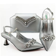 2020 Sinya New Style Italian shoes bag set with stones Wedding Shoes to match bag set for lady