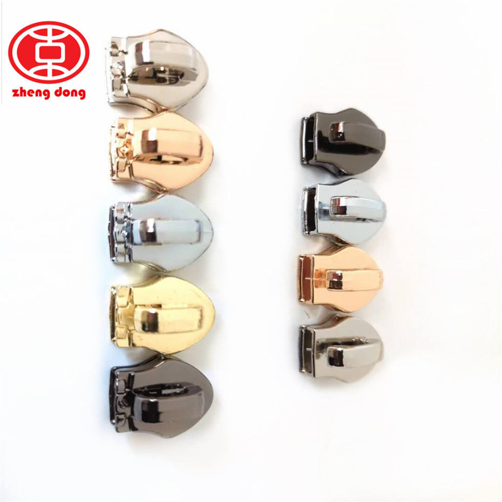 New Fashion Personalized Plated Metal Charm Zipper Slider Pull Zipper Head Metal spring zipper slider