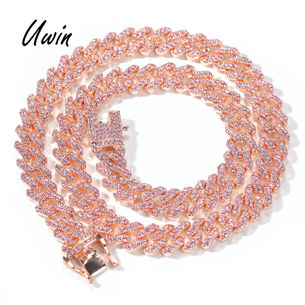 12mm Pink Cuban Chain Iced Out Rhinestone Zinc Alloy Rose Gold Plating Miami Cuban Link Chain Necklace Wholesale Jewelry