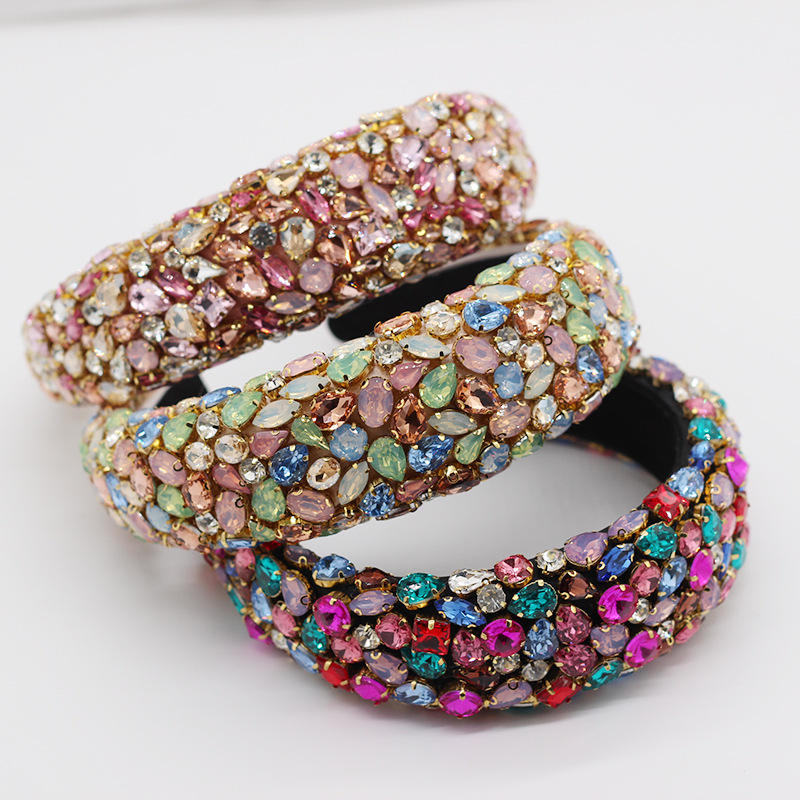 Ready to ship european luxury hair clasp for party full colored rhinestone padded headband baroque Banquet Glitter head bands