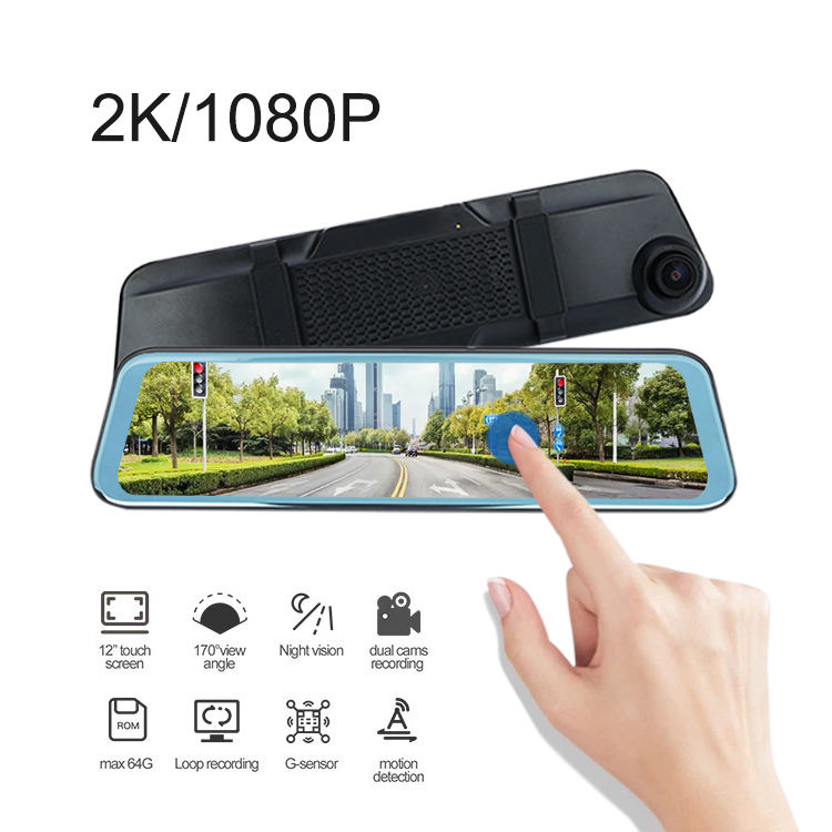11.8 Inch Ips Hd Full Screen 1080P Auto Video <span class=keywords><strong>Dvr</strong></span> Auto Camera Video Registratie Recorder G-Sensor Night vision Dash Cam
