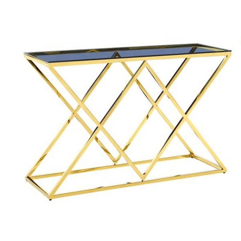 hot sale entrance furniture crushed diamond hallway table stainless steel blue tempered glass console table