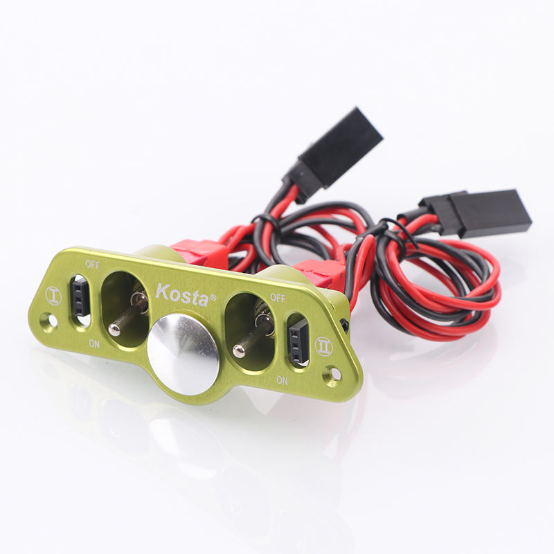 Green Metal Dual Power Switch Double Switch with Dual Fuel Dots RC 5x Heavy Duty RC Switch On OFF for RC Plane Accessory