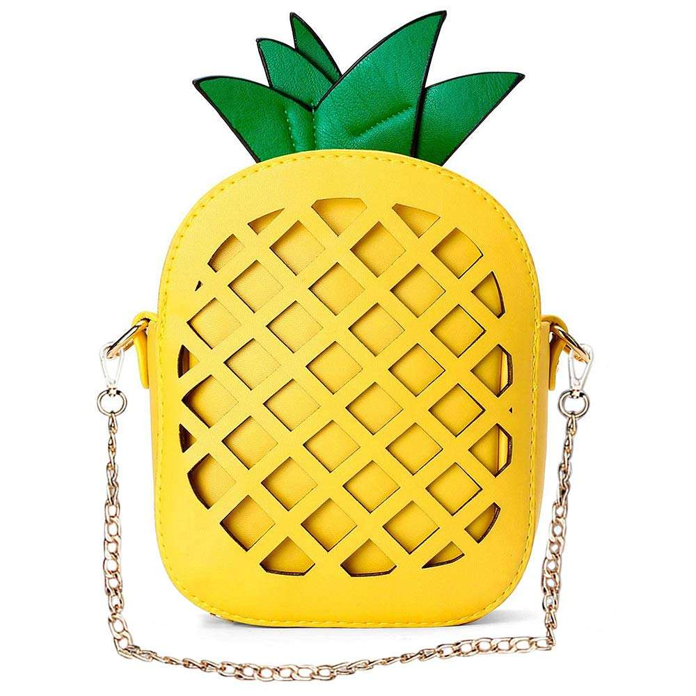 Wholesale Factory Price PU Chain Shoulder Pineapple Shaped Tote Bag