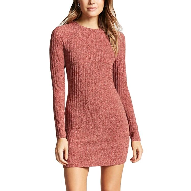 Custom Women's Casual O-Neck Long Sleeves Bodycon Plain Sweater Dresses
