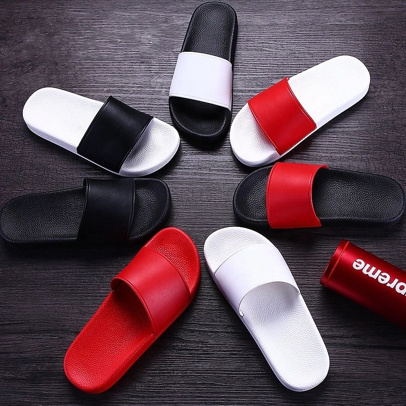 ODM sandals embedded printing slippers custom logo women's sandalias wholesale pvc flat slides slipper for women men