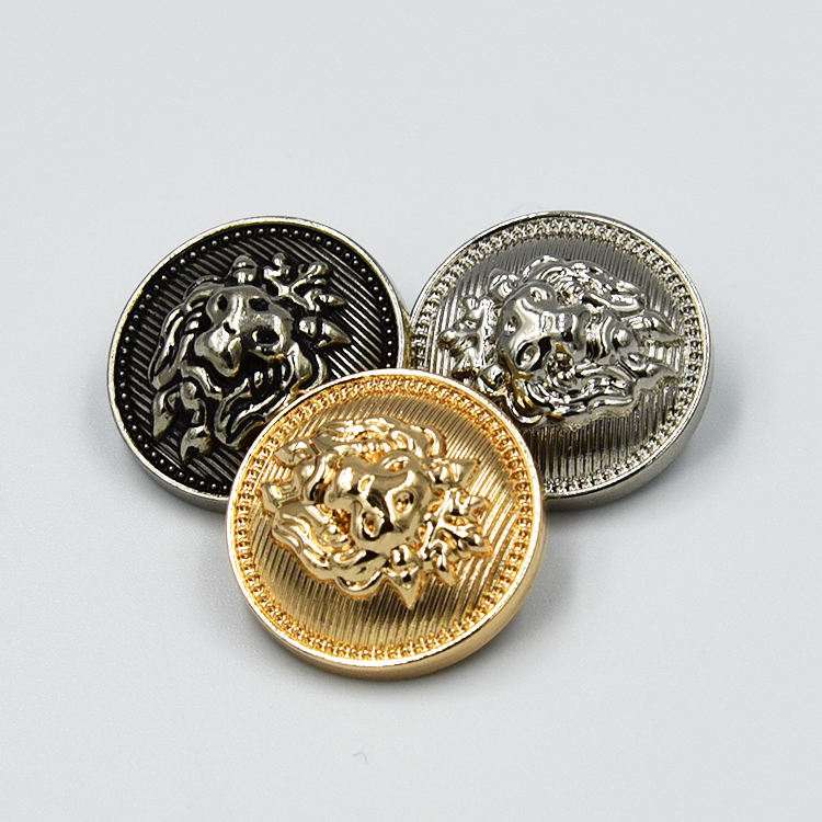 Custom made design Zinc Alloy gold Lion logo embossed metal sewing accessory garment army uniform blazer suit coat shank button