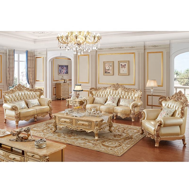 2019 New Design Antique Sofa European Style Classic Genuine Leather Sofa Sets
