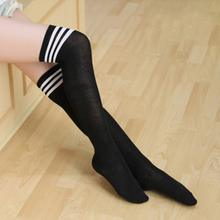 Summer thin fashion Japanese striped over knee cotton women socks