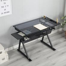 Glass Top Art Craft Desk  Draft  Drawing Table With Vice Drafting Desk