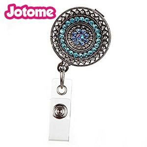 Razzle - dazzle teal rhinestone retractable ID badge ผู้ถือดึง reel key chain
