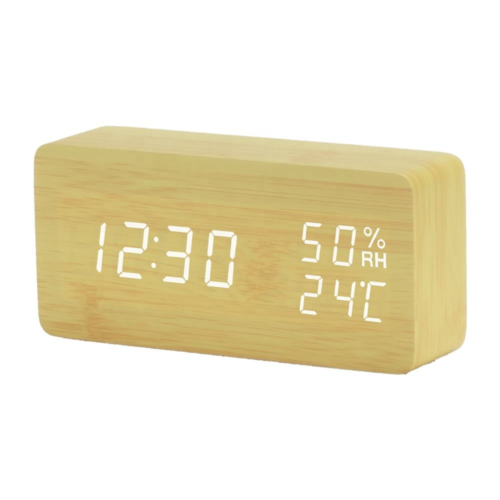 USB powered portable silence desk & table wooden digital alarm clock with day month year Temperature and Humidity