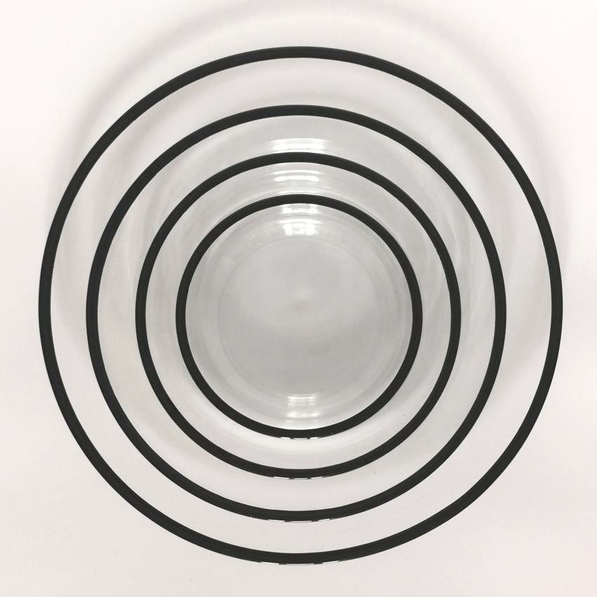 Shanxi INT Tableware 13 inch glass charger plate wedding black coloured rim round serving plates