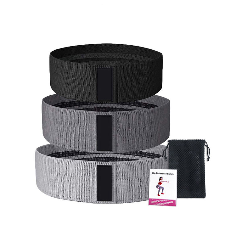 Eco-friendly black fabric gym exercise workout yoga fitness exercise booty hip resistance bands set