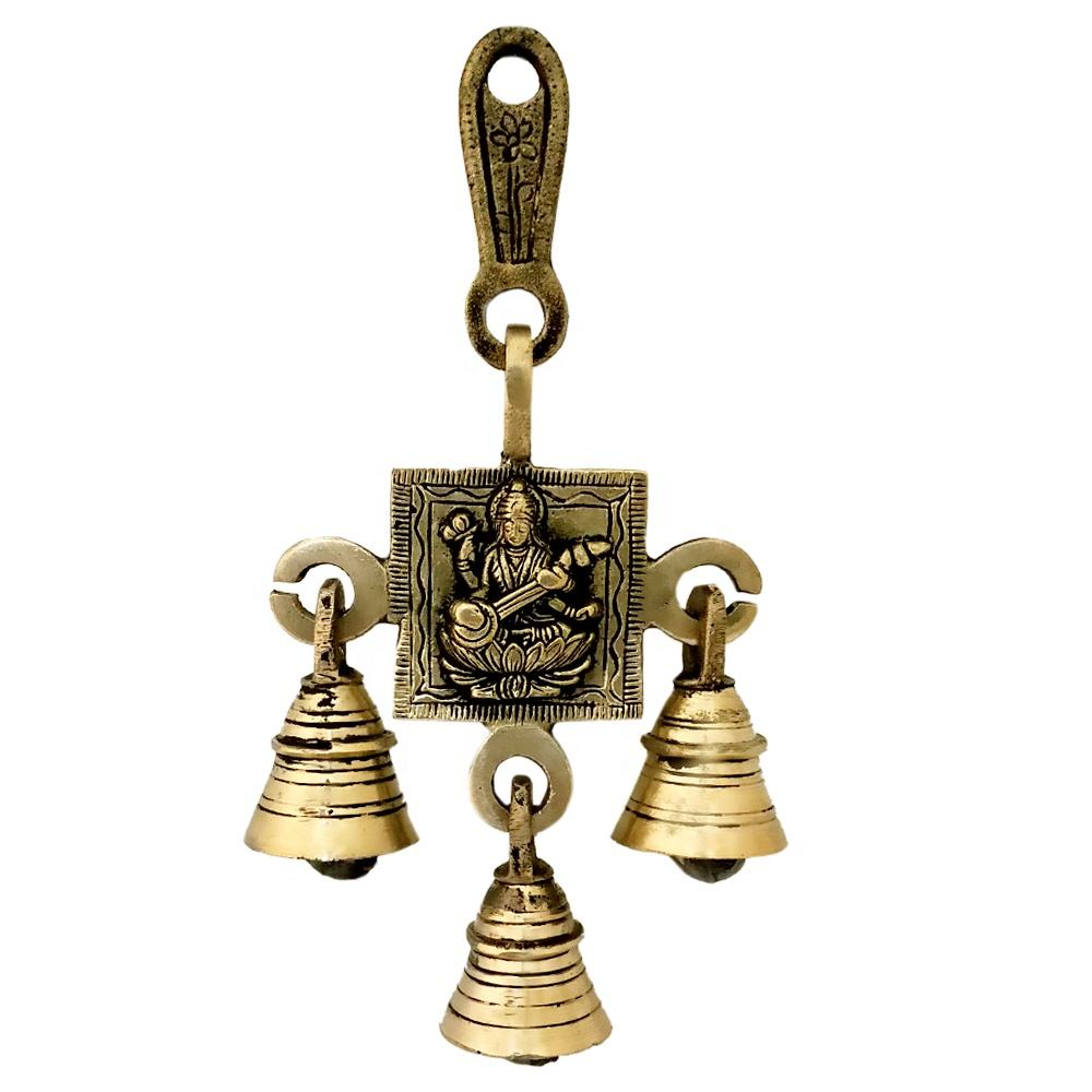 Indian Hindu Decor Wall Hanging Good Luck Vastu Saraswati Goddess of Wisdom, Arts, Music Buri Nazar Battu Brass Bells Decorative