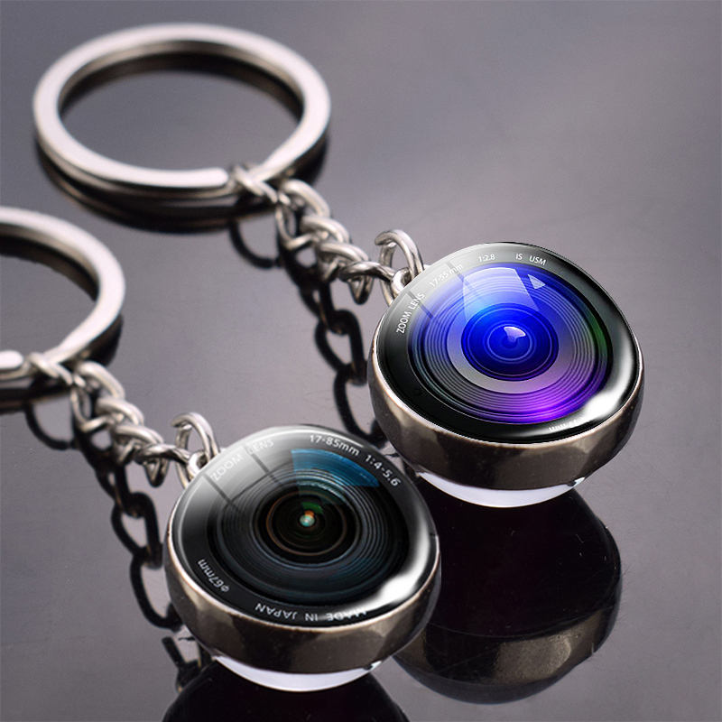 New Fashion Lenses Keychain Camera Lens Double Side Glass Ball Keychain Pendant Keyring