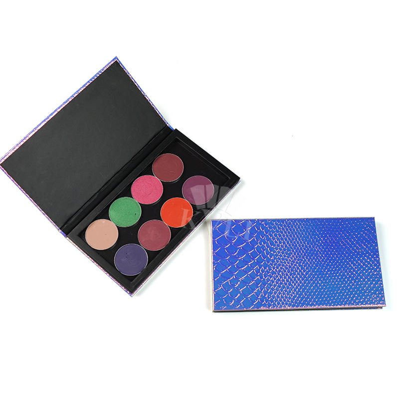 Best wholesale shining PU leatherette paper empty palette with strong magnet base for eyeshadow powders