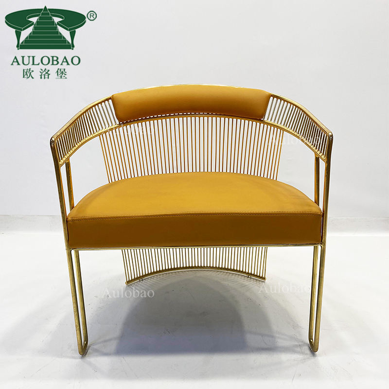 Interior design gold iron plating armrest home lounge chairs for bedroom