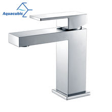 Aquacubic Contemporary Water Saving UPC Chrome Lavatory Bathroom Basin Faucet