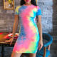 OEM Short Sleeve Mini Tie Dye Printing Overall Sun T Shirt Dress